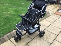 Hauck black pushchair, sit or lie including bumper bar , rain cover and basket