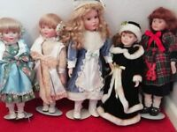5 Vintage Dolls ~ Free-standing; good condition, velvet clothes~ All 5 to go