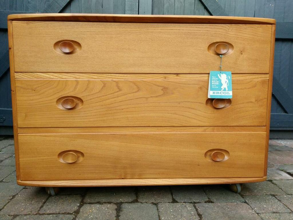 Ercol Chest Of Drawers Vintage Retro Mid Century