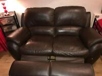 Brown leather 2 seater recliner and 1 seat also recliner