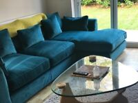 5 month old teal velour 3 seater sofa + chaise