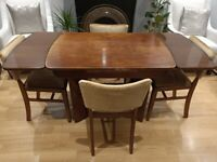 Vintage mid century Beautility Dining table and 4 chairs
