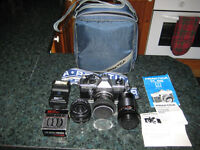 PRAKTICA SLR 35 MM CAMERA WITH SELECTION OF LENSES AND ORIGINAL CASE, COLLECTABLE