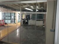 Office glass folding partition aporox 2.5m wide X 2.4m height