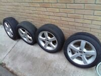 Clean 4x100 alloy wheels with good tyres, £100 newry