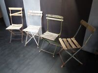 Authentic vintage 50s French cafe bistro garden folding chairs x 4