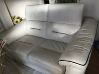 2 and a 3 seater White Italian Leather sofa