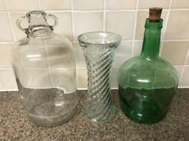 Vintage bottles and vase, £5 each.