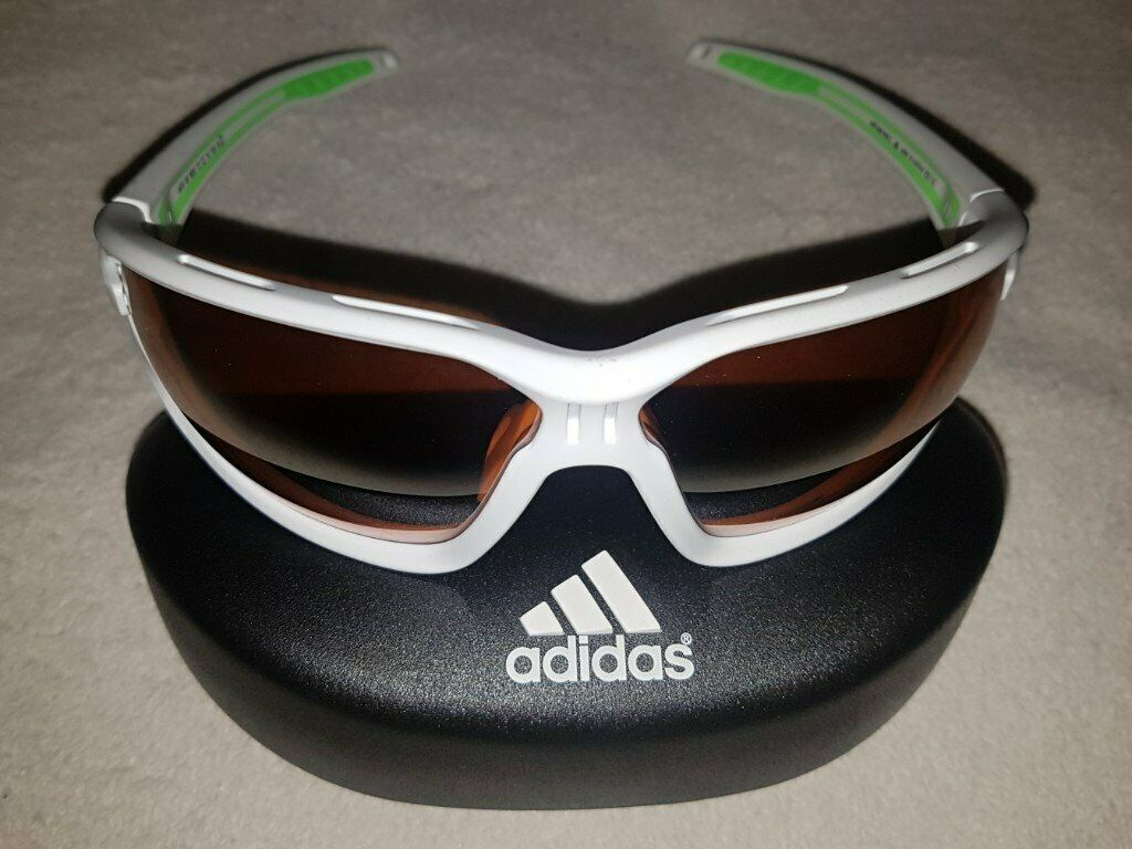533bc7bafea new Adidas Evil Eye Evo L White Matt Green LST Bright Silver Sunglasses  a418 00 6052