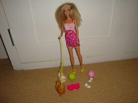 Barbie doll with 2 dogs on lead - as new condition