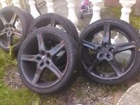 "200 all very good tyres no welds or buckels 19"" 5/114 come with all nuts"