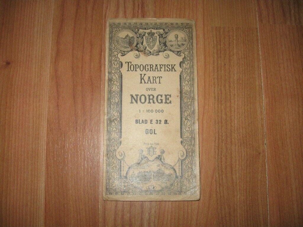 o kart norge 1920s Antique Map   TOPOGRAFISK KART OVER NORGE BLAD E 32 O. GOL 1  o kart norge