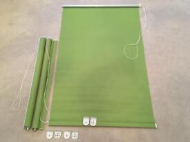 3 x GREEN ROLLER BLINDS WITH FITTINGS
