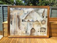 3 large wooden picture frames with prints included