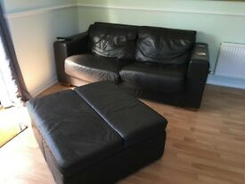 3 seater sofa + matching ottoman chocolate brown leather, both sofa beds