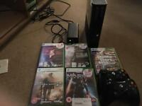 Xbox 360 Elite 120GB 2 Controllers 5 Games