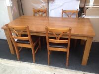 Solid oak table + 4 chairs (FREE DELIVERY)