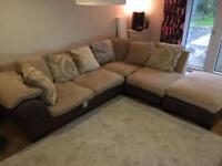 Cream and brown corner sofa