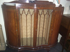 Gorgeous Antique Solid Mahogany Bow Front Glazed Double Door China Display Cabinet Sideboard