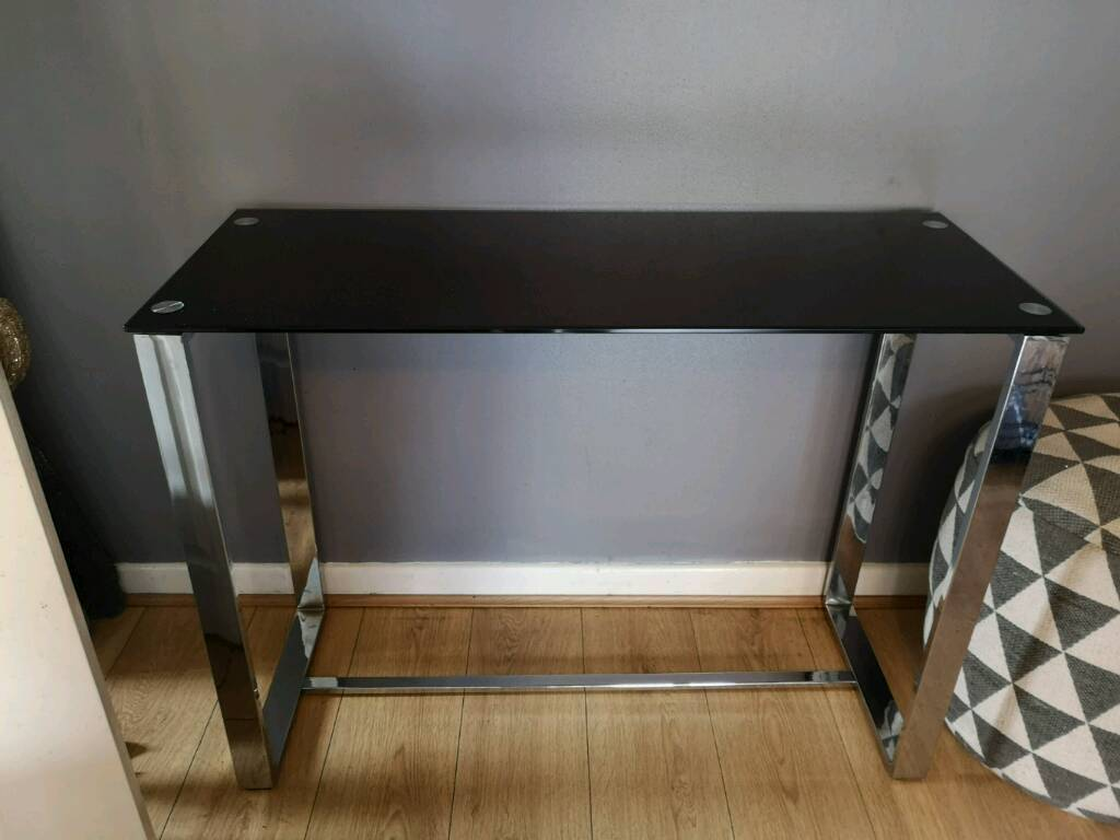 Black Glitter Glass And Chrome Console Table In Wigan Manchester