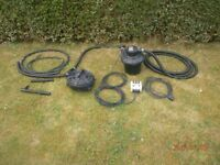 Ornamental water fall for garden pond + large submersible pump filtration system