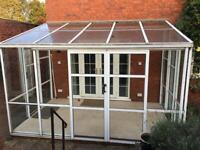 Glass Orangery Metal Framed White Conservatory - 3.8x2.4x2.7m - Buyer Dismantles
