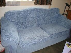 3 seater settee and matching chair chenille fabric ex cond