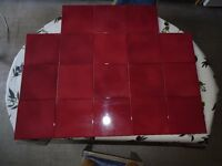 18 Dark Red Italian Tiles 20cm (8inches) Square