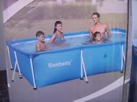 Bestway Rectangular Steel Pro Pool. 300cm x 201cm x 66cm includes all listed extras