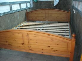 MODERN SOLID PINE ORNATE 'SUPERKING' SIZE BED WITH MATTRESS. VIEWING & DELIVERY AVAILABLE