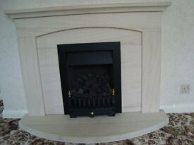 Fireplace/fire surround in Limestone approx 1200wideby 1200high(4ft by 4ft) with mantle & hearth.