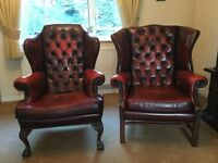 Pair of Millbrook leather armchairs