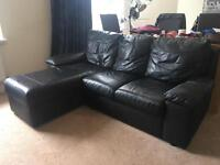 Black Full Leather L-shaped / corner / 3 seater sofa REDUCED FOR QUICK SALE