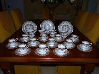 Queen's Fine Bone china tea set, 12 place setting. Excellent condition.