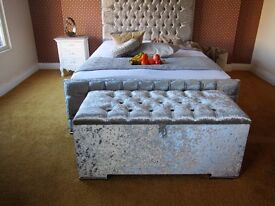 SUNNINGDALE **NEW** CRUSHED VELVET FABRIC UPHOLSTERED BED (FREE LOCAL DELIVERY)