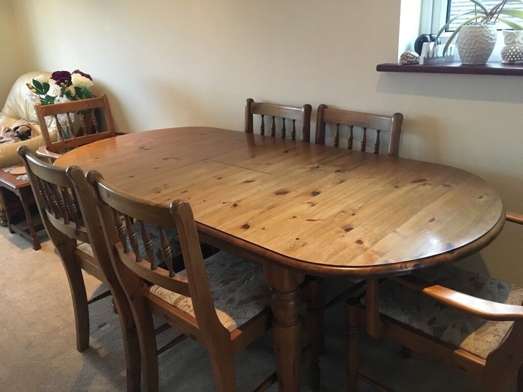 07ba43489a44 Solid Wood Extending Dining Table 6 Chairs In Harrow London