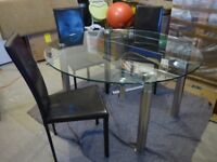 Bargain! Expandable, glass & chrome dining table & chairs
