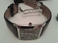 MENS ARMANI SQUARE FACE WATCH WITHALL BOXES etc;NICE