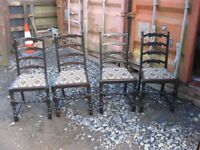 4 X VINTAGE ORNATE BLACK PAINTED OAK UPHOLSTERED CHAIRS. MATCHING. VIEWING/DELIVERY AVAILABLE