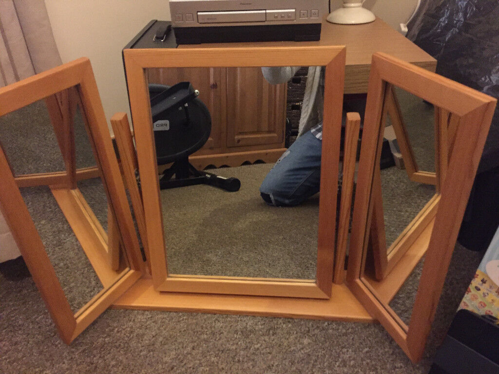 Antique Pine 3 way Vanity Mirror Bedroom Furniture