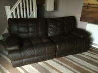 Recliner 3 seater sofa and chair brown. Offers