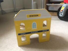 Wooden train set station