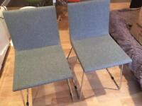 2 x High quality grey padded dining room chairs - like new