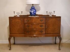 Queen Ann Antique Vintage Bow fronted walnut side board