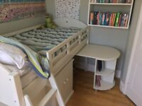 Feather and Black Noah Midsleeper including desk chair and cabinet.