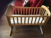 Swinging crib or cot and mattress