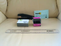 Stapler, post it, ruler, foldback clips and staples