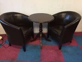 2 x Dark Brown Faux Leather Armchairs and Table