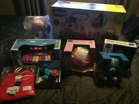 Selection of brand new baby toys boxed and in original packaging