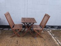 Patio set garden table and chairs bistro style hardwood